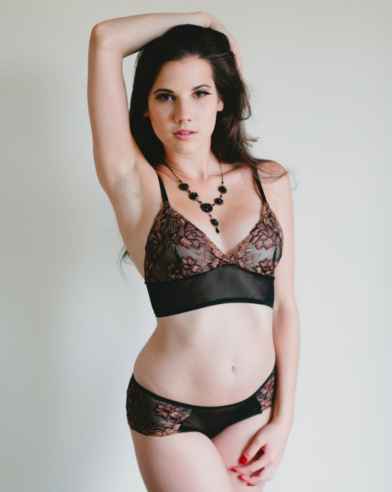 SALE Richly Embroidered Brown and Black Mesh /'Rosa/' Bra Sheer Bra LAST ONE Only Up To Size Small Made To Order Lingerie