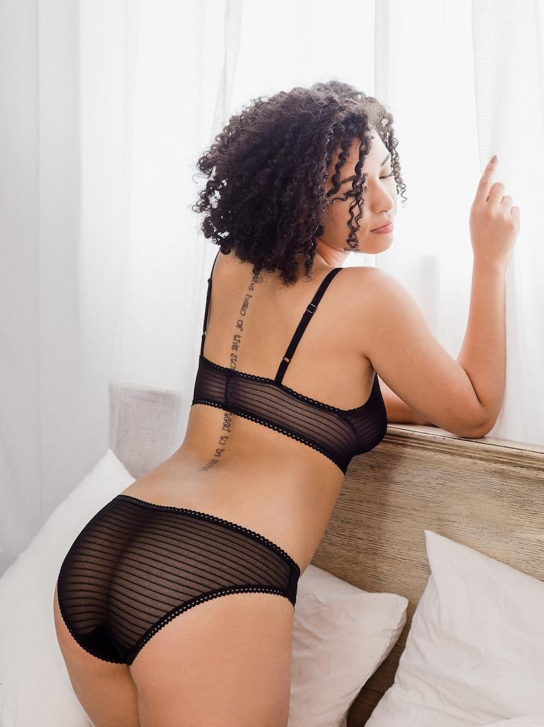 f938f0bb647 Sheer Lingerie Black Mesh Striped See Through Panties