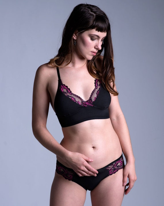 eb109a148bc092 Organic Cotton Bra Black Cotton with Black and Pink Lace