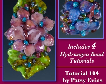 Lampwork Beads Tutorial - 4 Gorgeous Hydrangea Flower Beads Tutorial for Jewelry by Patsy Evins