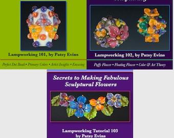 SAVE BIG 3 Glass Lampwork Flower Bead Tutorials Bundle by Patsy Evins