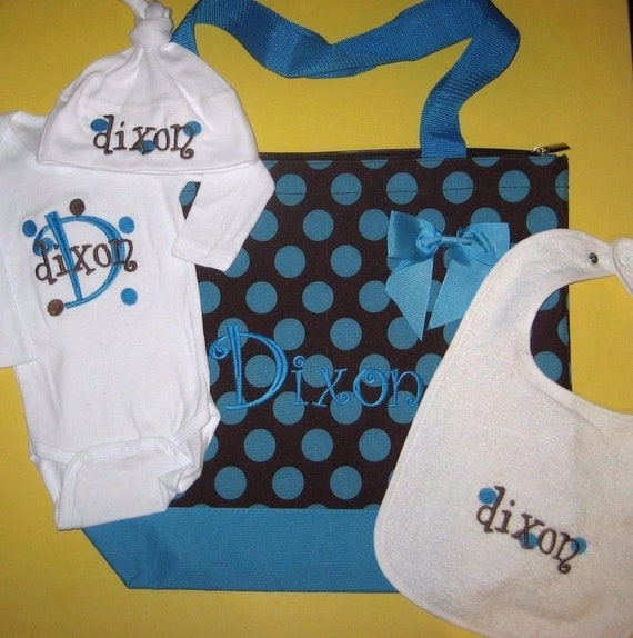 CREEPER T Shirt /& HAT Gift Set PINK DOTS PERSONALIZED Baby Girl Diaper TOTE BAG