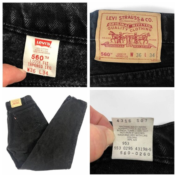 Vintage 90s Levi's 560 Faded Black Mom Jeans / Dad