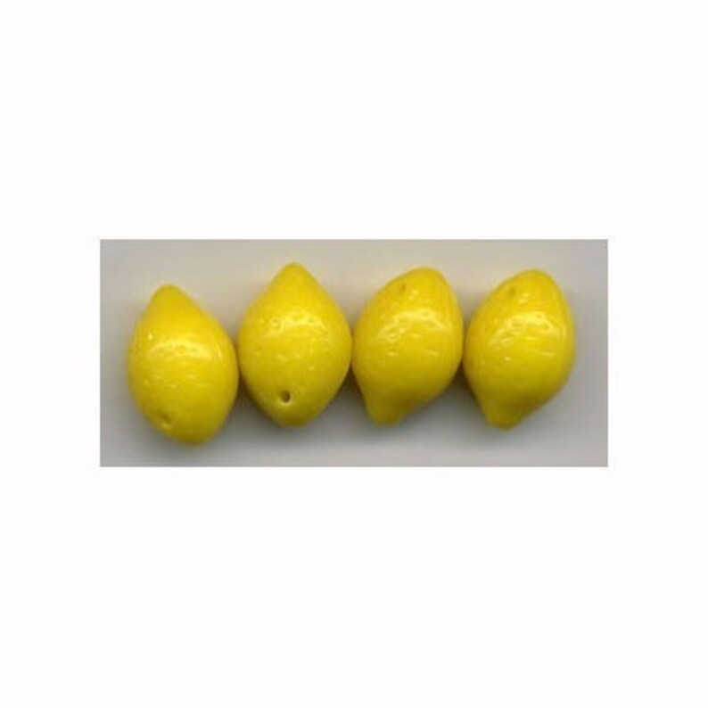 Lemon Glass Fruit Beads Czech Opaque Great for Charms Jewelry Crafts Miniature Fun
