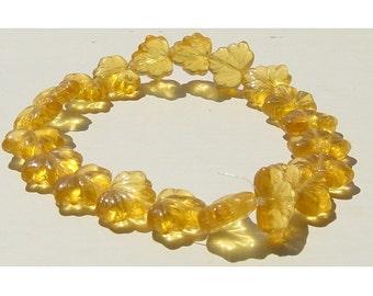 Topaz Gold Glass Leaf Bead Czech Autumn