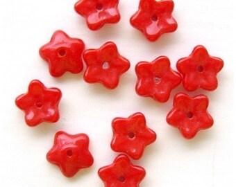 Red Opaque Flowers Czech Glass Beads 7mm