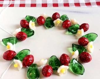 Strawberry Fruit Beads Leaf Flowers Czech Glass
