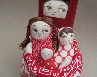 Safe as Houses Mama House and her three children Fabric Matryoshka Nesting Art Doll
