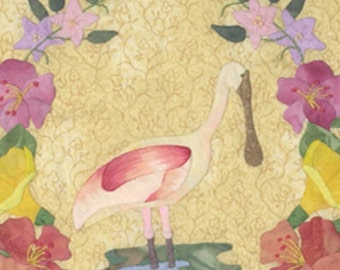 Roseate Spoonbill Applique quilt pattern