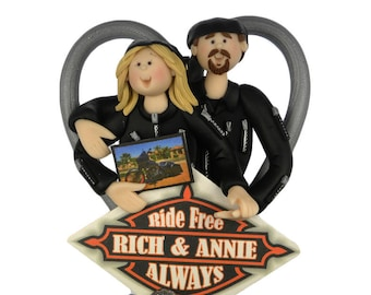 Biker Couple Ornament with photo of bike - Motorcycle Gifts - Motorcycle Figurines - Biker Gifts  sc 1 st  Etsy & Motorcycle gifts | Etsy