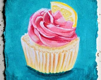 Strawberry Lemonade Cupcake - original painting