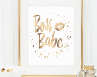 "Gold Foil Printable, Printable Women Gift, ""Boss Babe"", Gold Foil Wall Art, Printable Word Art, Gold Foil Print, Gift Idea, Instant Download"