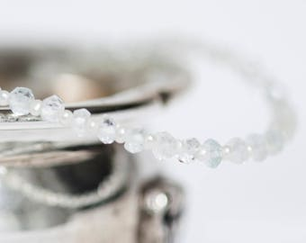 """Natural Aquamarine and Seed Pearl Sterling Silver Bracelet 7.25"""""""
