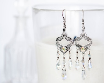 "Swarovski AB Crystal Sterling Silver Filigree Chandelier Earrings 2.85"" Long"