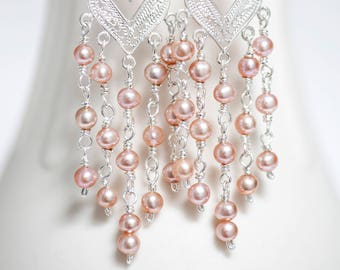 "Pink Baby Freshwater Pearl Sterling Silver Filigree Chandelier Earrings 3.15"" Long"