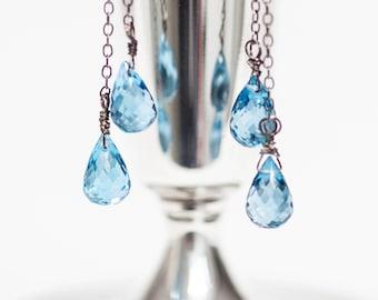 "Natural London Blue Topaz Gemstone Dangle Earrings 2.75"" Long Oxidized Sterling Silver"
