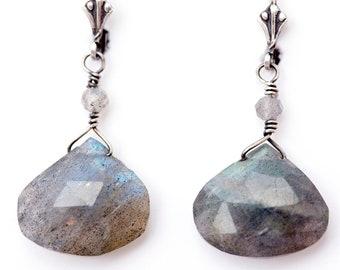 """Labradorite Blue Green Gray Teardrop Drop Earrings Sterling Silver Lever Back Raincloud Oxidized Elegant 1.5"""""""