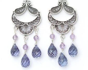"Gorgeous Color Change Alexandrite Lab Made Corundum Natural Amethyst Chandelier Earrings 2.65"" Long Dangle Sterling Silver Lavender Violet"