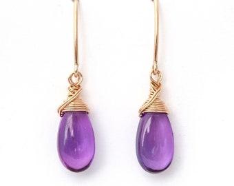 """Purple Quartz Teardrop Dangle Drop Earrings Gold Violet Wire Wrap 1.4"""""""