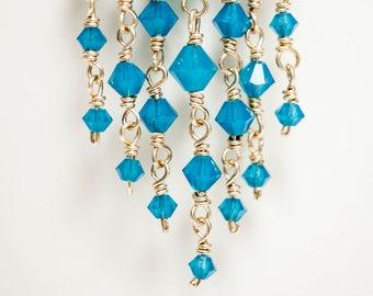 """Swarovski Caribbean Blue Opal Gold Vermeil Chandelier Earrings 3.35"""""""