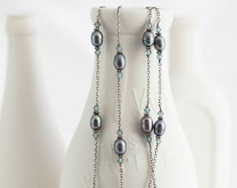 """Blue Gray Freshwater Pearl Sterling Silver Chain Double Strand Necklace 17"""" Long"""