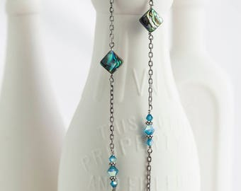 """Abalone and Indicolite AB Swarovski Crystal Sterling Silver Necklace 37"""" Long"""