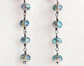 "Fire Polished Gray Green AB Crystal Sterling Silver Mermaid Dangle Earrings 2.5"" Long"