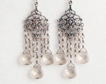 "Silver Shade Swarovski Sterling Silver Chandelier Earrings Crystal 2.75"" Dangle Gray"