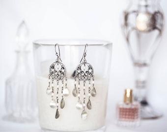"""White Baby Freshwater Pearl Sterling Silver Leaf Chandelier Earrings Dreamcatcher 3.25"""" Long"""