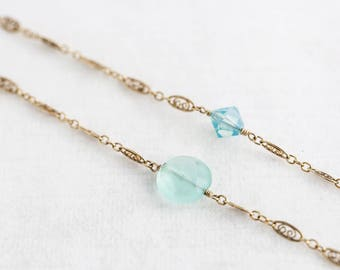 """Pacific Opal Swarovski and Peruvian Green Chalcedony Necklace Gold Filigree Necklace 48"""" Long"""