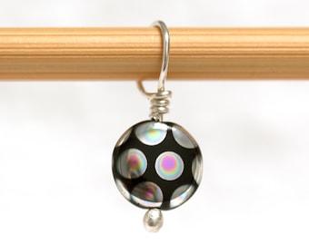 Iridescent Polka Dot Black Glass Sterling Stitch Marker - Gift for Knitter