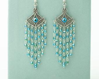 "Swarovski Crystal Sterling Silver Filigree Chandelier Earrings 3.25"" Long Dangle Mermaid Scales Dragon Tears Blue Green Shimmer Art Deco"