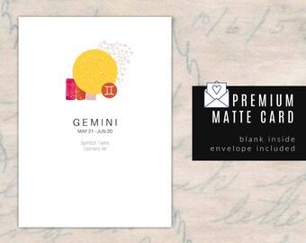 GEMINI/ZODIAC Birthday Card - Blank Inside