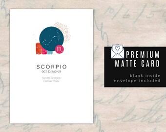 SCORPIO/ZODIAC Birthday Card - Blank Inside
