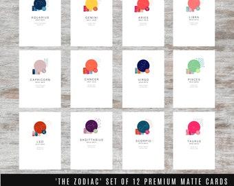 THE ZODIAC SET - Set of 12 Premium Matte Cards