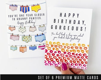 HER BIRTHDAY 6 pc Card Set - A set for the Ladies ]