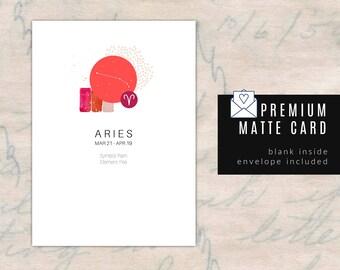 ARIES/ZODIAC Birthday Card - Blank Inside