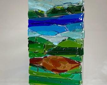 Wild flower Landscape Trees Ocean SUNcatcher, Abstract Landscape Art, Wild Flower Fields Wall Art, Coastal Art Modern Fused Glass C2