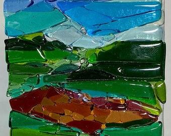 Fused Glass Cranberry Bog Landscape Trees Ocean SUNcatcher, Abstract Landscape Art, Shades of Blue Ocean Wall Art, Coastal Art Modern C1