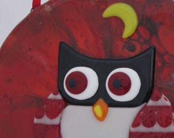 Fused Glass Owl Art Crescent Moon Hoot Baby Gift