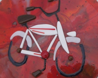Fused Glass Vintage Bicycle Bike Art Baby Gift Red Cycling Father's Day
