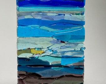 Fused Glass Landscape Trees Ocean Waves SUNcatcher, Abstract Landscape Art, Shades of Blue Ocean Wall Art, Coastal Art Modern