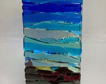 Seascape Trees Ocean Waves SUNcatcher, Abstract Landscape Art, Shades of Blue Ocean Wall Art, Coastal Art Modern Fused Glass W2