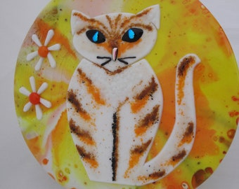 Fused Glass CAT Art, Kitten Kitty, FLOWER power, Striped Orange Tabby, Glass Painting, Wall Hanging, Stained Glass, Paw Print, Pet Love
