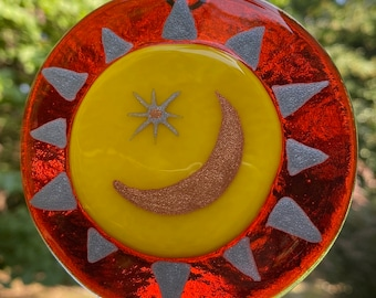 Fused Glass Good Night Moon, Happy Face Moon and Stars SUNcatcher, Bright Red Yellow Crescent Moon and Stars Art, Mid Century Modern