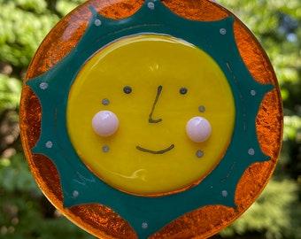 Fused Glass Sun Sunshine Happy Face SUNcatcher, Bright Yellow Sun Art, Mid Century Modern