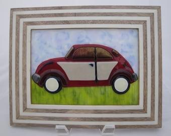 VW Volkswagen Beetle Bug Fused Glass Art, VW Beetle Vintage, Classic car, Punch Bug, Handcrafted, Holiday, Birthday, Handmade 1969
