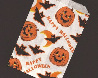 One Dozen / Vintage / Trick or Treat Party Favor Bags / Printed Paper / Halloween / Treat Bags / Loot Bags / For Gifts and Goodies