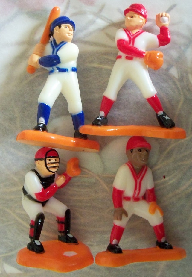 Vintage Retro Kitsch / Four Baseball Players / Cake Toppers