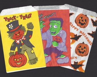 One Dozen / Vintage / Trick or Treat Party Favor Bags / Printed Paper / Variety / Halloween / Treat Bags / Loot Bags